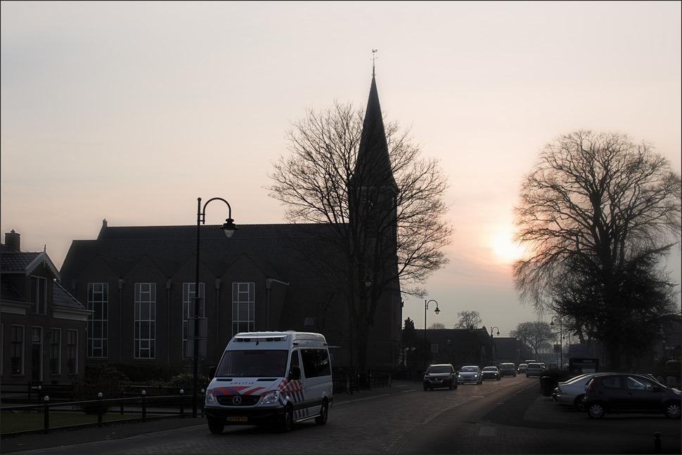Staphorst gemeenteweg Zonsondergang Foto