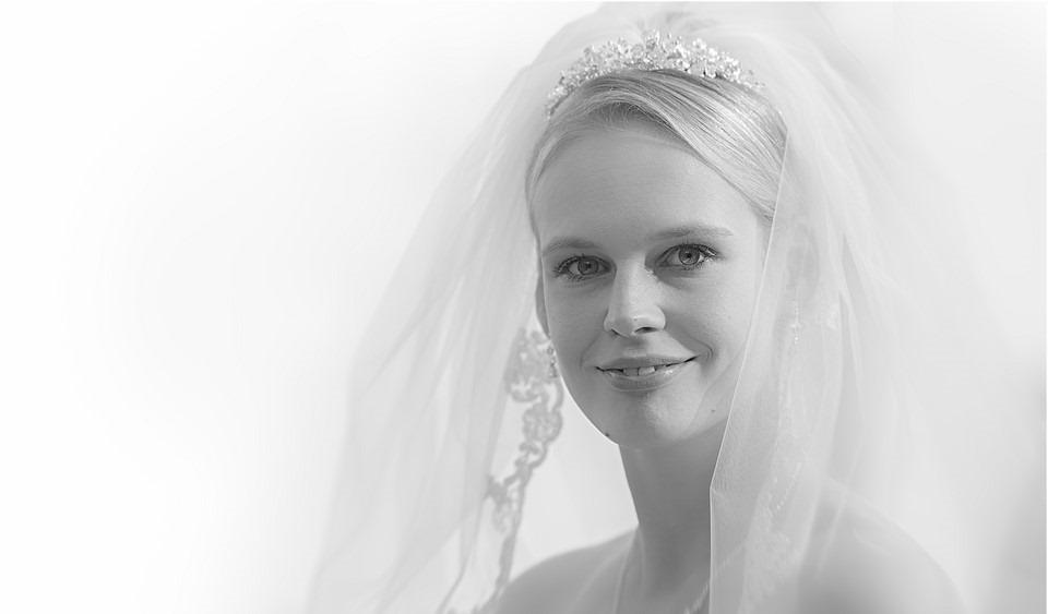 Een Stralende Bruid Foto Portret Zwart Wit