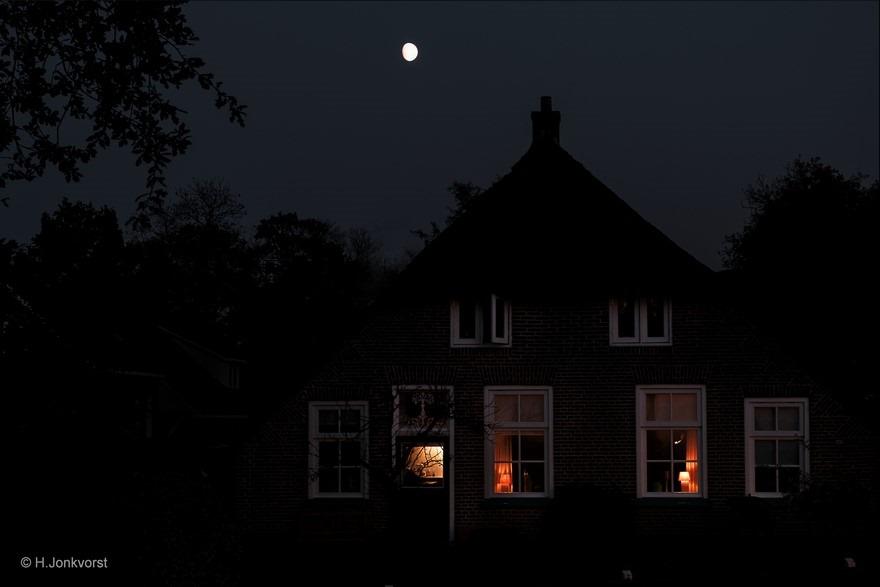 Staphorst Foto Staphorster boerderij Foto maanlicht Foto zie de maan schijnt