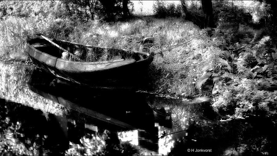 Openluchtmuseum Arnhem, Nederlands Openluchtmuseum, de tand des tijds, verval, verrot, Vergane Glorie, overwoekerd, één met de natuur, Fotografie in zwartwit, Omzetten naar zwart wit