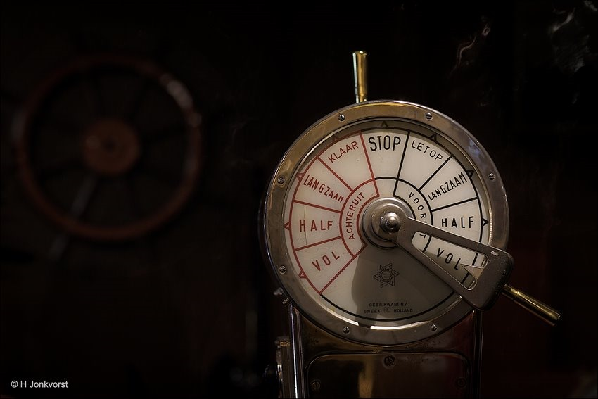 Scheepstelegraaf, Koperen Scheepstelegraaf, telegraaf schip, Spreekbuis, Machinekamerbel, Nautisch Instrument, Maritiem Museum, Maritiem Museum Koperen Hoogte, Full Throttle