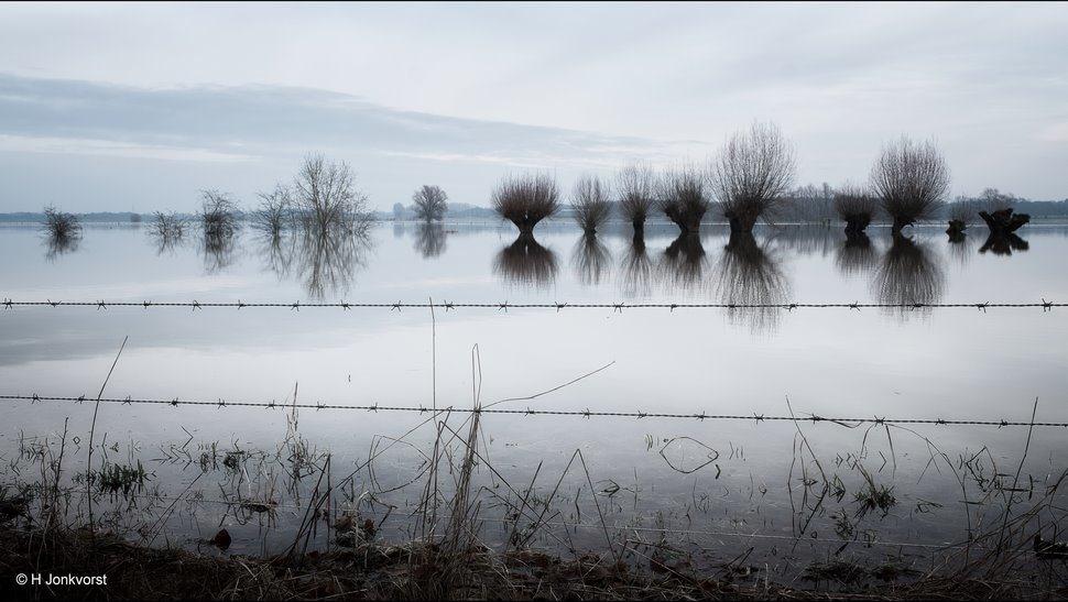 Verstilling, verstilling op het water, Hoogwater IJssel, hoogwater rivieren, ondergelopen uiterwaarden, ondergelopen land, Uiterwaarden IJssel, IJssel Deventer, watersnood, Verstild Landschap, hoog water, Landschapsfotogra