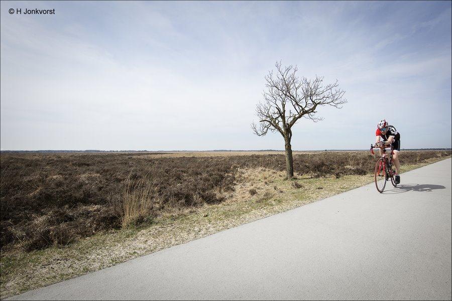 geef ze de ruimte, eenzame fietser, Droog Landschap, Dwingelderveld, gevoel van leegte, leeg landschap, groothoekperspectief, Landschap, leegte in een landschap, Leegte in een landschapsfoto, Nationaal Park Dwingelderveld,
