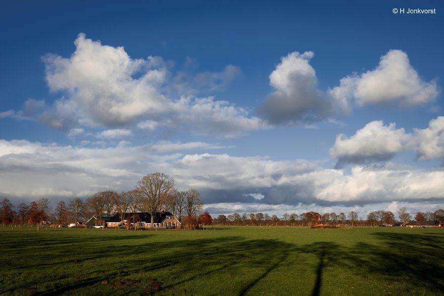 Lange schaduwen, laagstaande zon, Staphorst, Baldersmaatweg, Landschap, Staphorsterveld, schaduwen van bomen, Fujifilm XT2, Fujifilm XF 16-55mm F2.8 R Lm Wr, Fotografie, Foto, Photography, Photo