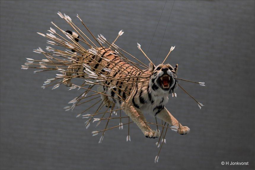 Dierenleed, zinloos doden van dieren, uitsterven van diersoorten, pijlen, strijd tussen mens en dier, voelbare pijn, kunst, Kroller Muller museum, Inopportune stage two, Cai Guo-Qiang, Canon eos R, Canon EF 85mm f1.2