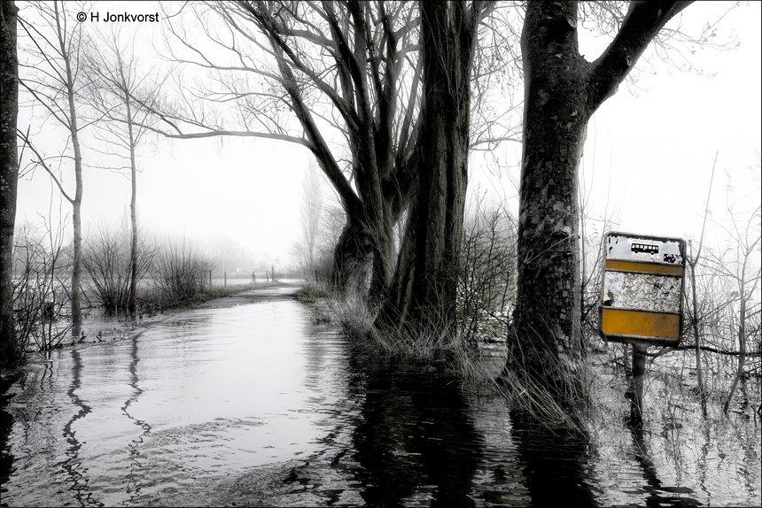 Nederland ligt plat, openbaar vervoer plat, in zwaar weer, hoogwater, hoogwater rivieren, busstop, bushalte, bushalte vervallen, humor, selectief zwart wit, Fujifilm XT2, Fujifilm XF 16-55mm F2.8 R Lm Wr, Fotografie, Foto