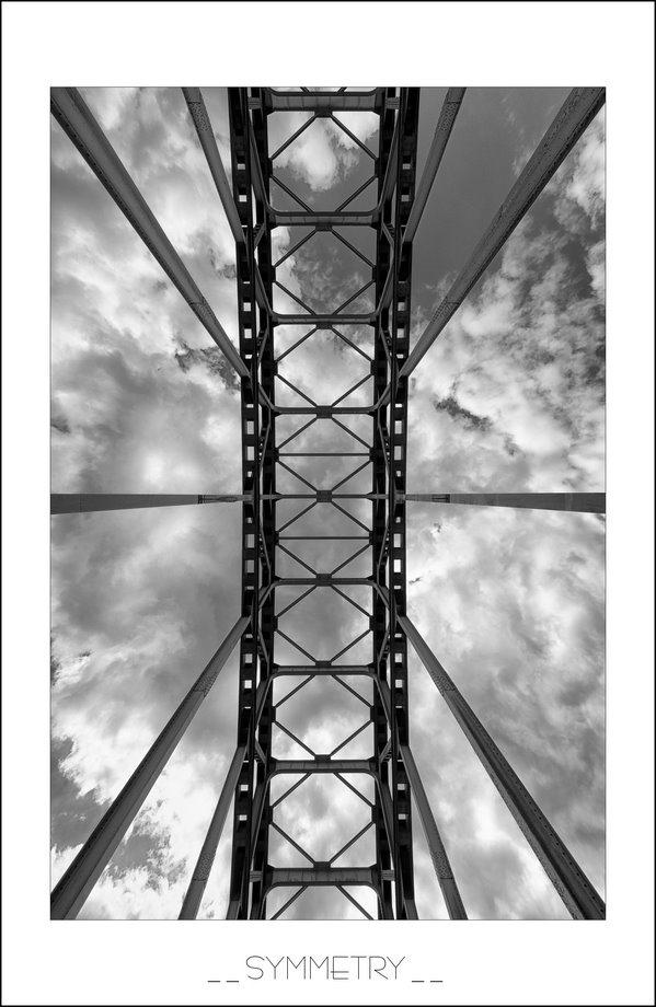 curven, bogen, brugconstructie, IJsselbrug, IJsselbrug Zwolle, IJsselbrug Zwolle afgesloten, lijnen, herhalingen, stalen brugconstructie, symmetrie, symmetrische lijnen, symmetrie foto, invoerende lijnen